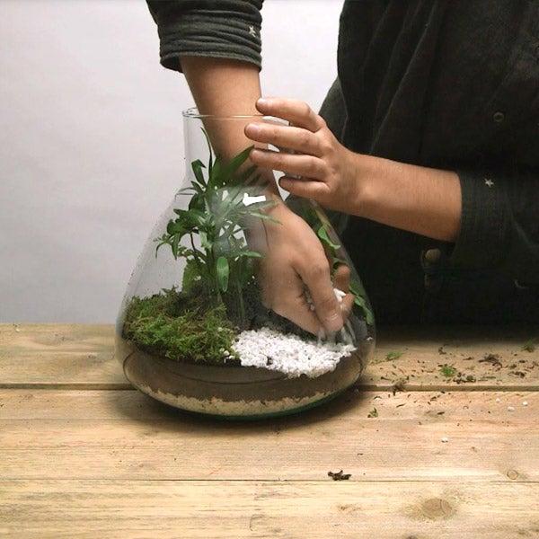 DIY planten terrarium Stap 2: Aarde in het terrarium doen