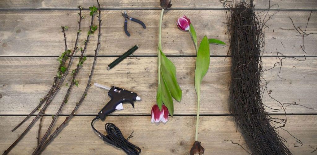 DIY Tulpenkrans benodigdheden