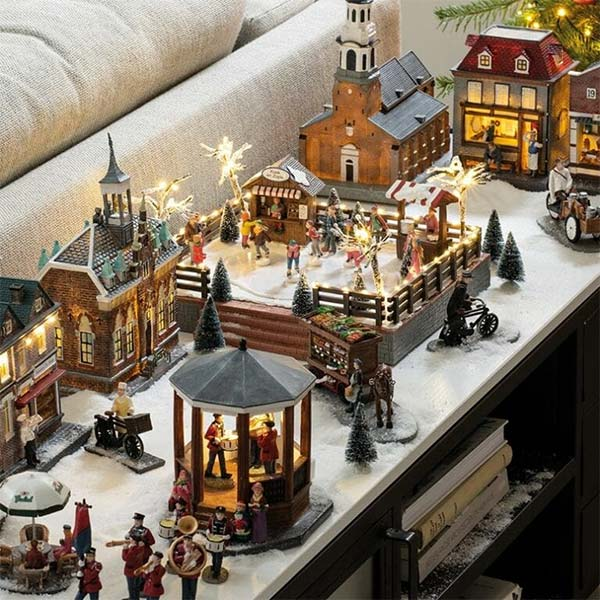 Kerstdorp op dressoir