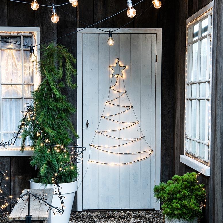 Kerst buitenverlichting op voordeur