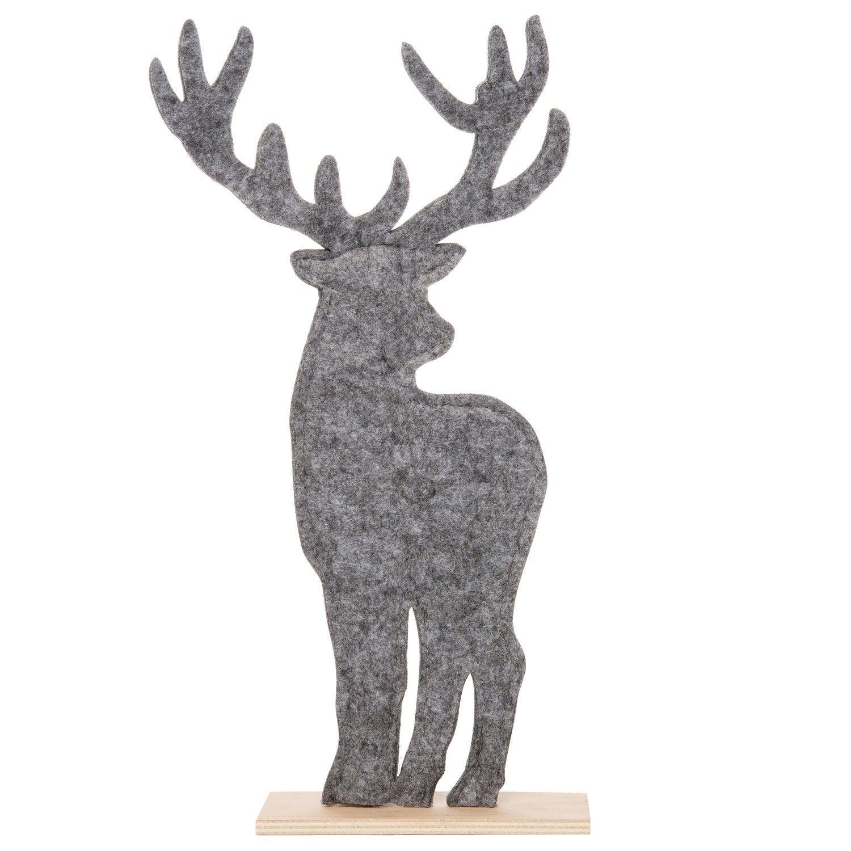 Intratuin kerstfiguur hert vilt 17,5 x 5,5 x 34 cm grijs
