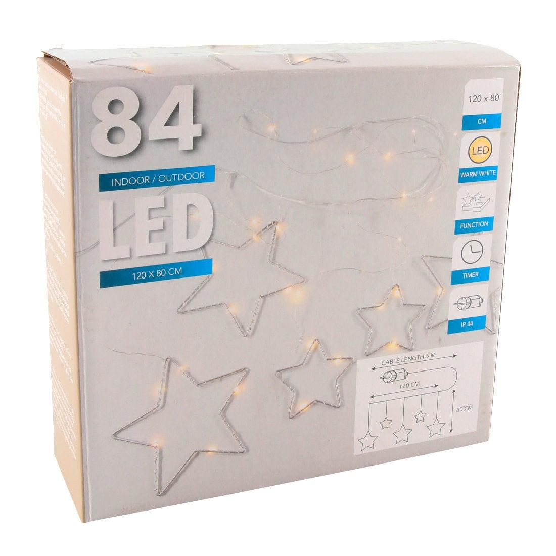 Gordijnverlichting ster 120 x 80 cm met 84 lampjes warm wit