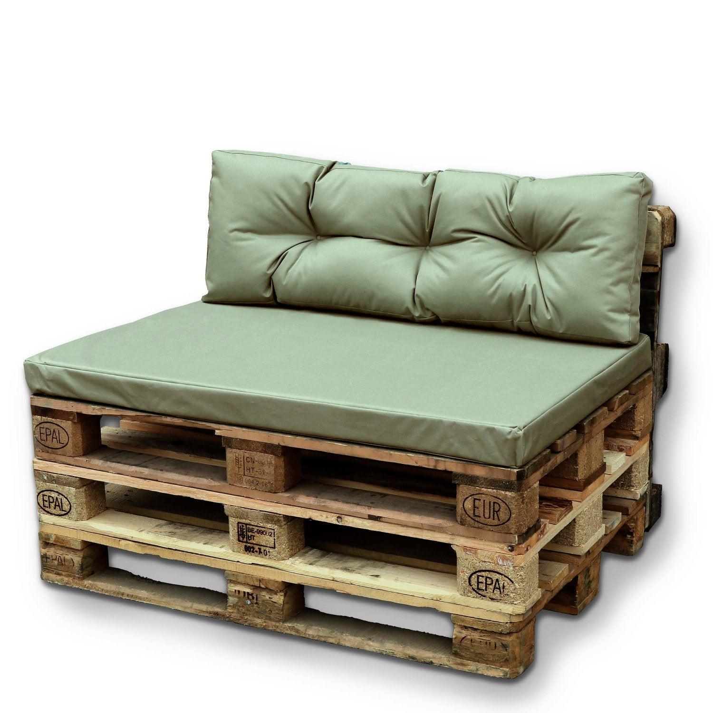 Unique Living palletkussen 80/40 x 120 cm groen set van 2