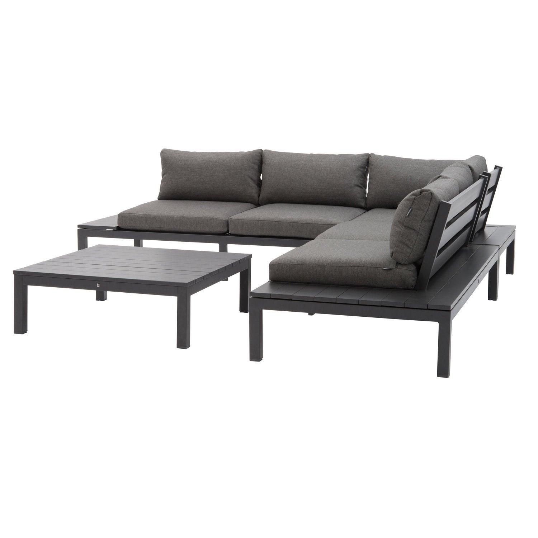 Intratuin 4-zits loungeset Gio aluminium antraciet