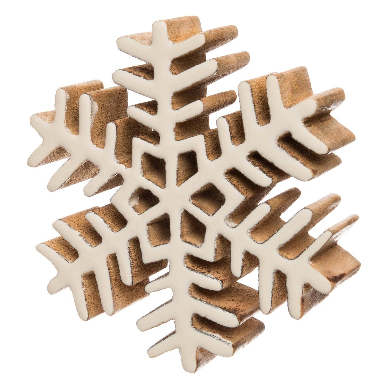 Intratuin kerstster naturel / wit 15 x 4 x 15 cm