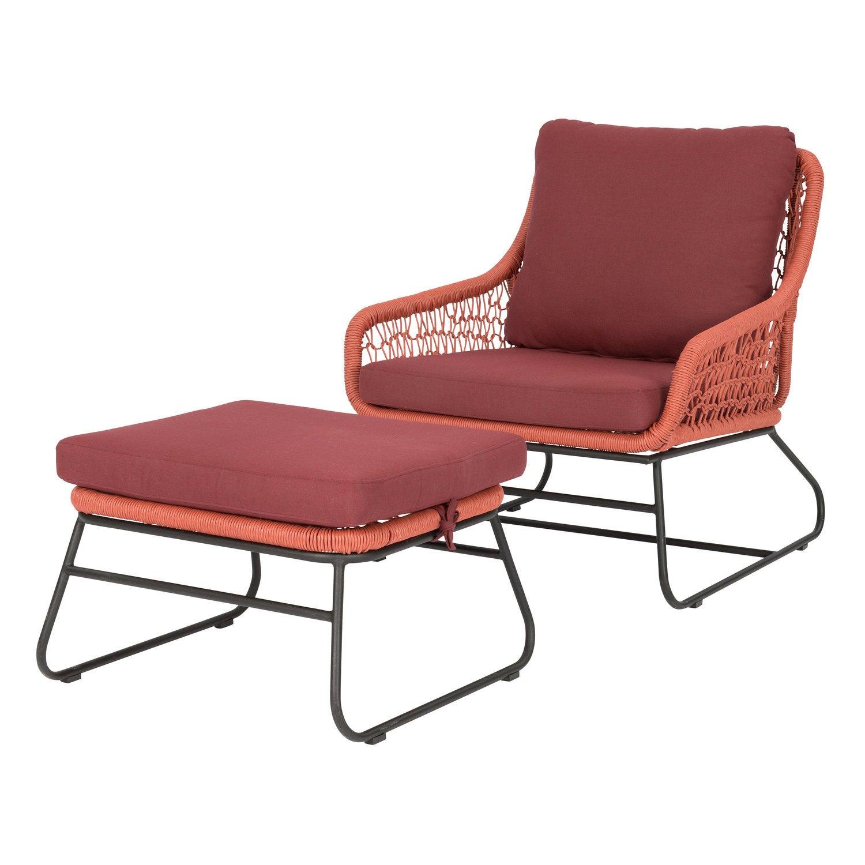 Intratuin loungestoel met hocker Portofino wicker terracotta