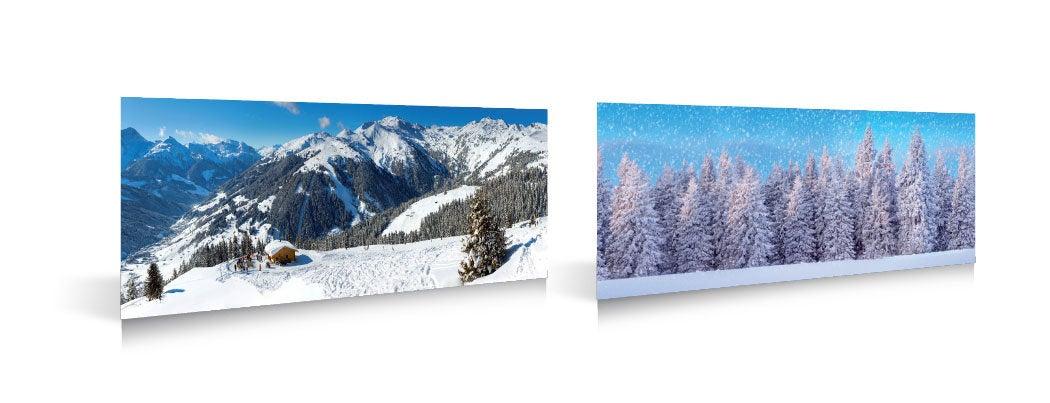 My Village kerstdorp achtergrond wintersport / bos 98 x 33 cm