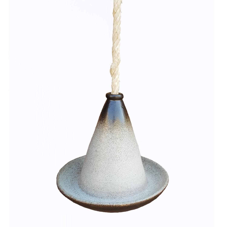 Vogeldrinkschaal glazuur hangend D 28 cm ecru / bruin