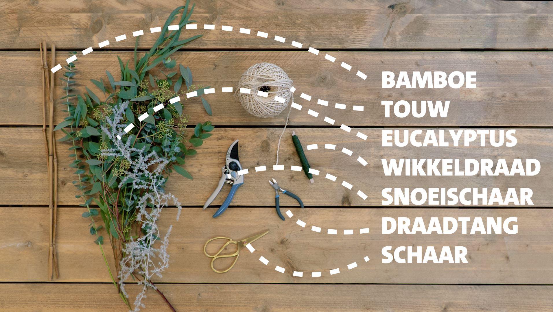 DIY: Driehoek met eucalyptus takken benodigdheden